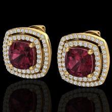 Natural 3.0 CTW Garnet & Micro Pave Diamond Certified Halo Earrings 18K Gold - 20166-REF#83W7K