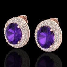 Genuine 8.0 CTW Amethyst & Micro Pave Diamond Certified Earrings 14K Gold - 20211-REF#98T9X