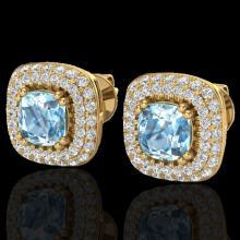 Genuine 2.16 CTW Sky Blue Topaz & Micro Pave Diamond Earrings Solitaire Halo 18K Gold - 20337-REF#90M2H