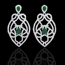 Natural 7.0 CTW Emerald & Micro Pave Diamond Heart Earrings Designer Solitaire 14K Gold - 21136-REF#224M4H