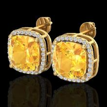 Natural 12 CTW Citrine & Micro Pave Halo Diamond Earrings Solitaire 18K Gold - 23060-REF#76R8Z