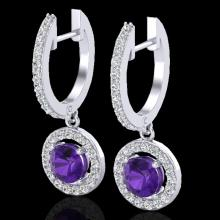 Genuine 1.75 CTW Amethyst & Micro Pave Halo Solitaire Diamond Earrings 18K Gold - 23245-REF#62Y9V
