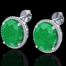 Natural 25 CTW Emerald & Micro Pave Diamond Certified Halo Earrings 18K Gold - 20270-REF#143M5H