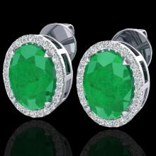Natural 5.50 CTW Emerald & Micro Pave Diamond Halo Solitaire Bridal Ring 18K Gold - 20248-REF#62R2Z