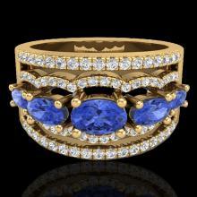 Natural 2.25 CTW Tanzanite & Micro Pave Diamond Certified Designer Ring 10K Gold - 20808-REF#65R2Z