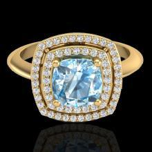Genuine 1.50 CTW Sky Blue Topaz & Micro Pave Diamond Certified Halo Ring 18K Gold - 20755-REF#69Z5Y