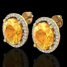 Natural 5.0 CTW Citrine & Micro Pave Diamond Certified Earrings Halo 18K Gold - 21052-REF#56K5T