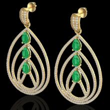 Natural 4.0 CTW Emerald & Micro Pave Diamond Certified Designer Earrings 18K Gold - 22456-REF#204Z9Y