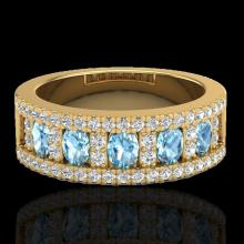 Natural 2.0 CTW Topaz & Micro Pave Diamond Designer Inspired Band Ring 10K Gold - 20820-REF#48H8R