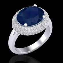 Natural 4.50 CTW Sapphire & Micro Pave Diamond Certified Ring 18K Gold - 20924-REF#99K7T