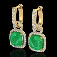 Natural 6.0 CTW Emerald & Micro Pave Diamond Certified Earrings 18K Gold - 22962-REF#83G5W