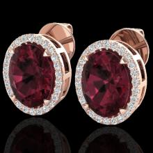 Natural 5.50 CTW Garnet & Micro Pave Diamond Halo Solitaire Bridal Ring 14K Gold - 20250-REF#54H7R