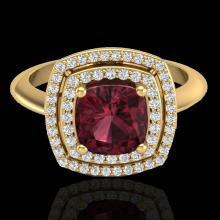 Genuine 1.50 CTW Garnet & Micro Pave Diamond Certified Pave Halo Ring 18K Gold - 20763-REF#69Y5V