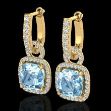 Natural 7.0 CTW Sky Blue Topaz & Micro Pave Diamond Certified Earrings 18K Gold - 22974-REF#83T7X