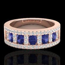 Natural 1.75 CTW Tanzanite & Micro Pave Diamond Inspired B& Ring 10K Gold - 20830-REF#52Z5Y