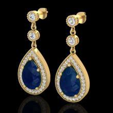 Genuine 6.0 CTW Sapphire & Micro Pave Diamond Certified Earrings Designer 18K Gold - 23123-REF#63W5K