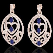 Natural 7.0 CTW Tanzanite & Micro Pave Diamond Heart Earrings Designer In 14K Gold - 21162-REF#234K8T