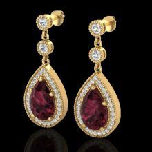 Genuine 4.50 CTW Garnet & Micro Pave Diamond Certified Earrings Designer 18K Gold - 23119-REF#56A8N