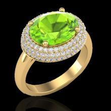 Genuine 4.50 CTW Peridot & Micro Pave Diamond Certified Ring 18K Gold - 20921-REF#83N4G