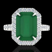 Genuine 5.33 CTW Emerald And Micro Pave Diamond Certified Halo Ring 18K Gold - 21425-REF#62V2F