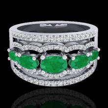 Natural 2.25 CTW Emerald & Micro Pave Diamond Certified Designer Ring 10K Gold - 20800-REF#59H5R