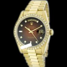 Rolex Men's 18K Yellow President, QuickSet, Diamond Dial & Diamond Bezel - REF#1232W7R