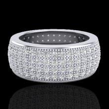 Genuine 2.50 CTW Micro Pave Diamond Eternity Bridal B& Ring 18K Gold Size 7.5 - 20883-REF#146N2G
