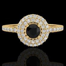 Natural 0.80 CTW Micro Pave Diamond Certified Designer Ring 18Kdouble Halo Gold - 20894-REF#54Y5V