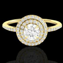 Genuine 1.0 CTW Micro Pave Diamond Solitaire Bridal Ring Double Halo 18K Gold - 21615-REF#89M9H