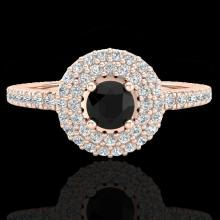 Natural 0.80 CTW Micro Pave Diamond Certified Designer Ring 14Kdouble Halo Gold - 20892-REF#49R2Z