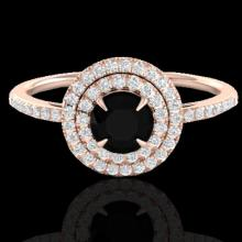 Natural 1.0 CTW Micro Pave Diamond Solitaire Bridal Ring Double Halo 14K Gold - 21608-REF#50K9T