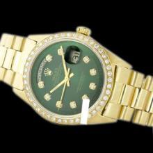 Rolex Men's 18K Yellow President, QuickSet, Diamond Dial & Diamond Bezel - REF#1232R7T