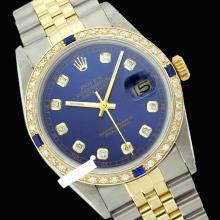 Rolex Men's 2Tone 14K Gold/ SS, QuickSet, Diam Dial & Diam/Sapphire Bezel - REF#458X2G