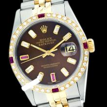 Rolex Ladies 2Tone 14K Gold/ Stainless Steel, Diam/Ruby Dial & Diam/Ruby Bezel, Saph Crystal - REF#316G4R