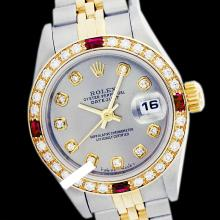 Rolex Ladies 2Tone 14K Gold/ Stainless Steel, Diam Dial & Diam/Ruby Bezel, Saph Crystal - REF#321G8R