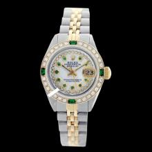 Rolex Ladies 2Tone 14K Gold/ Stainless Steel, Diam/Ruby Dial & Diam/Emerald Bezel, Saph Crystal - REF#332X7G