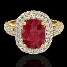 Natural 3.50 CTW Ruby & Micro Pave Diamond Certified Halo Ring 18K Gold - 20722-REF#109F2M