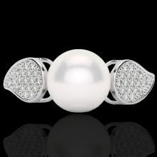 Genuine 0.27 CTW Micro Pave Diamond Certified & White Pearl Designer Ring 18K Gold - 22643-REF#31M6H