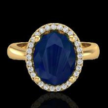 Genuine 3.0 CTW Sapphire And Micro Pave Diamond Certified Ring Halo 18K Gold - 21115-REF#38W8K