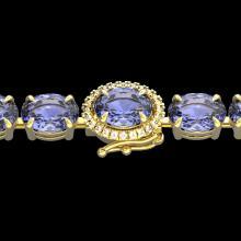 Natural 32 CTW Tanzanite & Diamond Eternity Tennis Micro Halo Bracelet 14K Gold - 23442-REF#387F3M