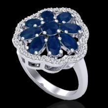 Natural 4.0 CTW Sapphire & Diamond Certified Cluster Designer Halo Ring Gold - 20786-REF#45K5T
