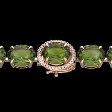 Natural 49 CTW Green Tourmaline & Micro Pave Diamond Halo Bracelet 14K Rose Gold - 22262-REF#284N6G