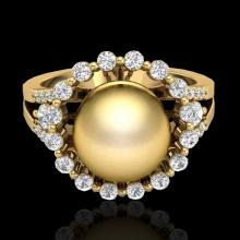 Genuine 0.83 CTW Micro Pave Diamond Certified & Golden Pearl Halo Ring 18K Gold - 20703-REF#62M4H