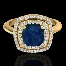 Genuine 1.50 CTW Sapphire & Micro Pave Diamond Certified Pave Halo Ring 18K Gold - 20769-REF#69H5R