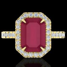 Genuine 5.33 CTW Ruby And Micro Pave Diamond Certified Halo Ring 18K Gold - 21433-REF#62N2G