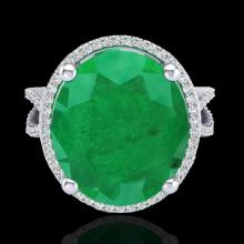 Natural 12 CTW Emerald & Micro Pave Diamond Certified Halo Ring 18K Gold - 20960-REF#95W3K