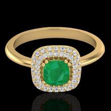 Genuine 1.16 CTW Emerald & Micro Pave Diamond Ring Solitaire Double Halo 18K Gold - 21029-REF#66W8K