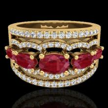 Genuine 2.25 CTW Ruby & Micro Pave Diamond Certified Designer Ring 10K Gold - 20803-REF#59A5N