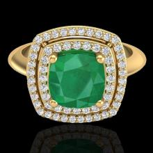 Natural 1.50 CTW Emerald & Micro Pave Diamond Certified Pave Halo Ring 18K Gold - 20760-REF#69R5Z