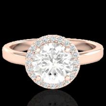 Natural 2.0 CTW Halo Diamond Certified Micro Pave Ring Solitaire Bridal 14K Gold - 21638-REF#576K6T